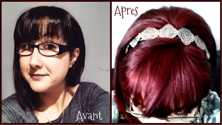 Couleur rouge fonce sur cheveux brun