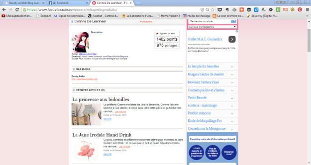 focus beaute page profil