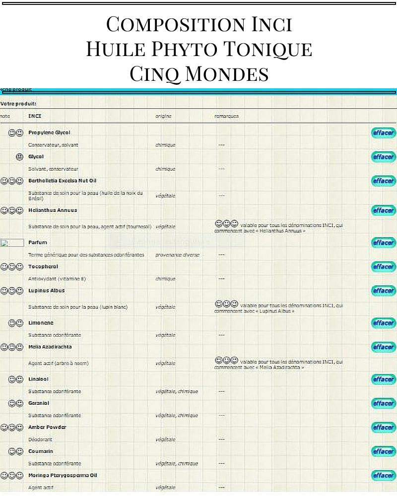 Composition InciHuile Phyto ToniqueCinq Mondes